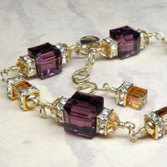 Crystal Amethyst and Amber Bracelet, Gold, Swarovski, Wedding, Handmade Jewelry, February Birthday, Fall Fashion