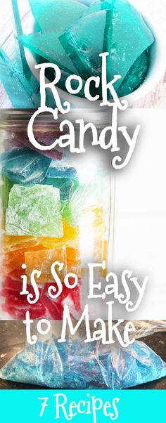 7 Rock Candy Recipes that are so easy to make! Check out these fun and easy to make Rock candy isn't just delicious, but it's fun to make. You can enjoy the process with the kids. Teach them something while making a sweet dessert. Holiday Candy, Christmas Candy, Holiday Treats, Christmas Treats, Christmas Baking, Christmas Recipes, Diy Christmas, Christmas Deserts, Christmas Drinks