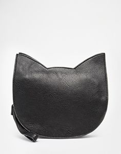 THEWHITEPEPPER Cat Crossbody Bag in Black