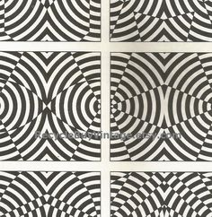 vintage 1970's optic illusion pattern art print book plate black & white pop art design retro home decor mod geometric picture wall 37 38 by RecycleBuyVintage on Etsy
