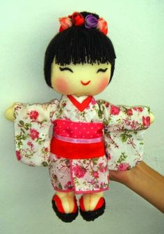 Bonecas de Feltro Japonês - Moldes e Passo a Passo - Toda Atual