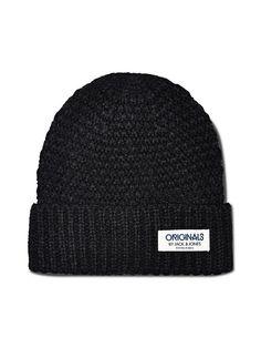 ORIGINALS by JACK & JONES - Strick-Beanie von ORIGINALS - Mit Markenaufnäher - Umgeschlagener Saum 100% Acryl...