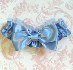 Big Blue Bow Bridal Garter
