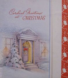 Retro Xmas Cards-Fireplace,Front Door,Window & Mailboxes ...