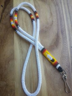 Auth. Native American fully beaded lanyard, Customized, 1 yr. guar., USA Made