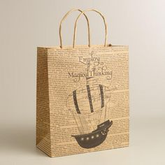 One of my favorite discoveries at WorldMarket.com: Large 'Magical Thinking' Airship Kraft Gift Bag