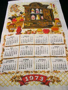 Calendar Towel Vintage 1973 Bright Herbs Spices