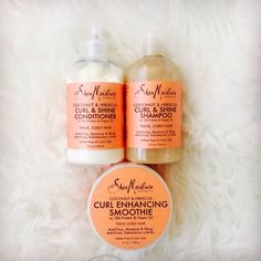 #SheaMoisture - Curly Hair - Coconut & Hibiscus Products I bought the Conditioner & the Curl Enhancing Smoothie. Can't to decide whether to buy the Raw Shea Butter Moisture Retention or the Coconut & Hibiscus Shampoo. I have Dry, Thick, Curly, Frizzy Hair...