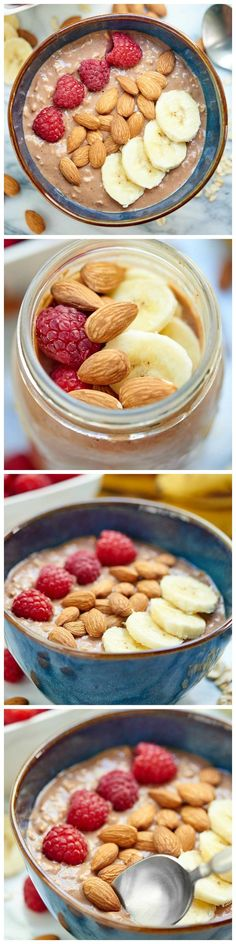 Chocolate Peanut Butter and Jelly Overnight Oats - A delicious, high protein #breakfast for all you PB & Jelly lovers!!!