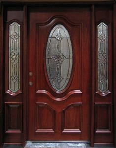 Solid Wood Mahogany Oval Victorian Glass With Sidelights Exterior Pre-Hung Door