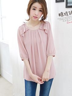 SPLICED BOW CREW NECK CHIFFON BLOUSES SHIRTS