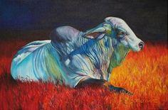 Sharon Markwardt, Big Brahma Blues II, oil, 24 x 36.