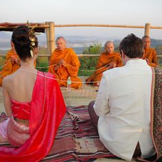 Amber and David were guided through a traditional Thai Buddhist ceremony, which included the blessings of nine monks at the Camp Peak of Four Seasons Tented Camp Golden Triangle.