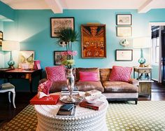 Angele Perlange Lonny Mag turquoise blue & hot pink eclectic living room design with turquoise walls, green geometric rug, brown velvet sofa, magenta pink pillows Decor, Colorful Living Room Design, House Design, Colourful Living Room, Living Room Designs, Bohemian Living Room, Eclectic Home, House Interior, Room Design