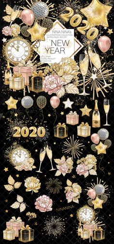 New Year Clipart New Year's Planner Stickers Party Clip New Year's Eve Wallpaper, January Wallpaper, Happy New Year Wallpaper, Holiday Wallpaper, Wallpaper Backgrounds, Planner Stickers, New Year Clipart, Gravure Laser, New Year Art
