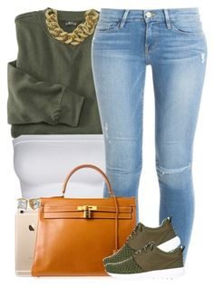 """""""Army Green."""" by livelifefreelyy ❤ liked on Polyvore featuring Frame Denim, Hermès, NIKE and ASOS"""