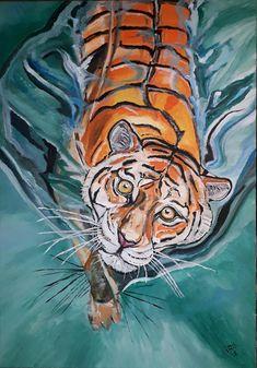 Acrylmalerei, Acrylicpainting, Tiger, Acrylicpaintings, Acryl und Sand auf Leinwand (100 x 70 cm) September 2018 Tiger, September, Animals, Canvas, Animales, Animaux, Animal, Animais