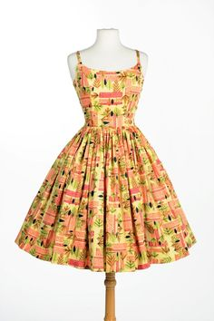 Jenny Dress in Tiki Print Sateen | Pinup Girl Clothing (What a cute little party dress!)