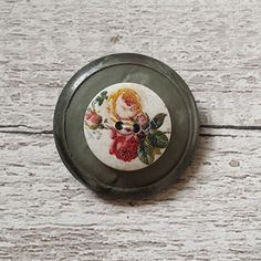 brooch vintage inspired button grey layered floral brooch