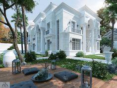 White Palace on Behance Modern Bungalow Exterior, Classic House Exterior, Classic House Design, Dream House Exterior, Modern House Design, White Mansion, Modern Mansion, Small Villa, Spanish House