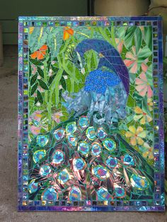 Beautiful peacock - mosaic stained glass