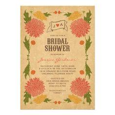 Vintage Floral Garden Party Bridal Shower Invitations