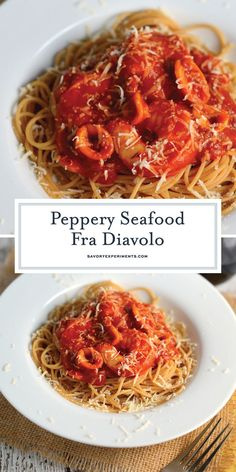 This Seafood Fra Diavolo Recipe is one of my favorite seafood pasta recipes ever! Fra Diavolo is a deliciously spicy marinara with fresh seafood! Seafood Fra Diavolo Recipe - A Tasty Spicy Pa Seafood Boil Recipes, Lobster Recipes, Spicy Recipes, Drink Recipes, Dinner Recipes, Seafood Meals, Noodle Recipes, Delicious Recipes, Pasta Marinara