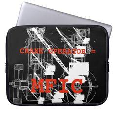 Crane operator = MFIC VINTAGE CRAWLER CRANE Computer Sleeve - construction business diy customize personalize