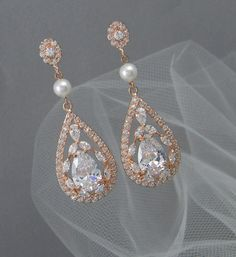 Bridal Earrings, Vintage style Pearl Swarovski Crystal wedding earrings Rhinestone Bridesmaids, Adison Rose Gold Bridal Earrings
