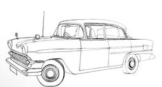 vintage truck color book pages | Line drawing of the above classic car ready for shading or coloring.