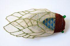Cicada Statement Brooch Fiber Art Insect Natural History