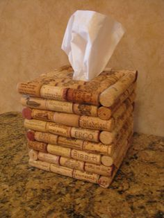 Wine Cork Tissue Holder. Pretty fancy stuff to hold the tissue you use to blow your nose….lol