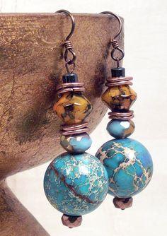 Blue Aqua Terra Jasper polished globes, aqua czech glass, gold and black glass, copper, niobium ear wire earrings: Cowgirl Art Deco via Etsy