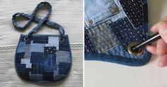 Решила поделиться с вами мастер-классом по изготовлению сумочки в стиле «боро». Буду рада, если этот мастер-класс будет вам полезен. Я старалась объяснить все пошагово. Сложность средняя, такую сумочку может сшить и начинающая рукодельница. Что нам понадобится? Джинсовая ткань (можно использовать старые джинсы). Люверсы и пресс для их установки (можно пробить люверсы в мастерской кожгалантереи или в сапожной мастерской).