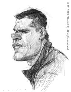 Matt Damon by Jason Seiler. Beautiful pencil work.