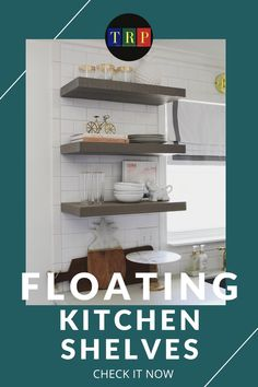 If you are looking for saving storage for your small kitchen that consumes only a little space, floating kitchen shelves will suit your needs. kitchen floating shelves | kitchen floating shelves decor | kitchen floating shelves wood | kitchen floating shelves diy | kitchen floating shelves and cabinets | kitchen floating shelves decor ideas | kitchen floating shelves modern | kitchen floating shelves white | #decor #wood #farmhouse #white #small Industrial Floating Shelves, Floating Shelf Decor, Floating Shelves Kitchen, Rustic Floating Shelves, Farmhouse Style Kitchen, Diy Kitchen, Kitchen Decor, Wall Mounted Kitchen Shelves, Stainless Steel Kitchen Shelves