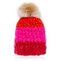 Shop Pink Colorblock Wool Beanie Hat with Blush Fox Fur Poms. Dutch  designer   Mischa Lampert   adds a statement edge to winter accessories. 8d18e777525b