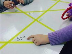 Plusklas: graden van hoeken meten. Komen ze erachter dat elke driehoek 180 graden is?