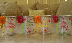 Teacher gifts by kellyspolkadots were on Etsy, but the link no longer works. (Not to take away from the original pin, but I think I've seen small containers similar to these at Target. They could be personalized with 'paint markers' or 'paint pens')