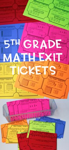 5th Grade Math Exit Tickets! Print and go! At least two tickets per standard! One open response and one multiple choice style which are great for test prep!