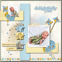 Oh my how darling this layout is - - perfect choice of kit to match the photos of this cute little man