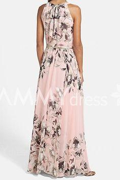 Fashionable Round Collar Sleeveless Floral Print Maxi Dress For Women