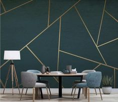Wall Mural Wallpaper Abstract Geometric Golden Lines Modern Wall Paper for Living Room Bedroom Tv Wall Decor Bedroom Wall Designs, Bedroom Decor, Wall Decor, Accent Wall Designs, Geometric Wall Paint, Geometric Wallpaper, Home Wallpaper, Adhesive Wallpaper, Paper Wallpaper