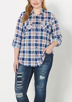 image of Plus Blue and Red Plaid Shirt