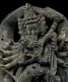 Twelve-Armed Chakrasamvara and His Consort Vajravarahi (detail), ca. 12th century. India