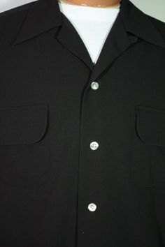 ON HOLD - Size M+ Black Gabardine Loop Collar Shirt. See more or buy it at: http://www.reprovintageclothing.com/clothing/clothing_men/cm0315.html
