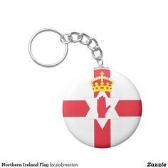 De Vlag van Noord-Ierland Basic Ronde Button Sleutelhanger