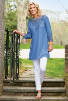 Add a touch of visual charm with our Touch of Soutache Top - it's lightweight and perfect for late summer dressing. Fashion Wear, Womens Fashion, Only Clothing, Pants For Women, Clothes For Women, Stretch Pants, Fashion Over 50, Casual Tops, Cute Outfits