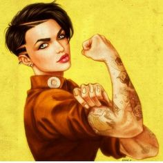Bad ass  contemporary Rosie the riveter!