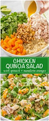 QUINOA CHICKEN SPINACH SALAD WITH HONEY LIME VINAIGRETTE - Food Holic